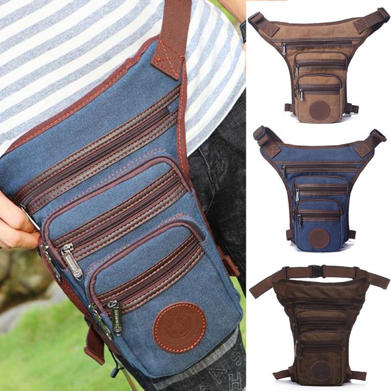 Men Vintage Drop Leg Bag Fanny Pack Thigh Belt Hip Bum Military Tactical For Travel Motorcycle Nylon/Canvas Riding Waist Pouches