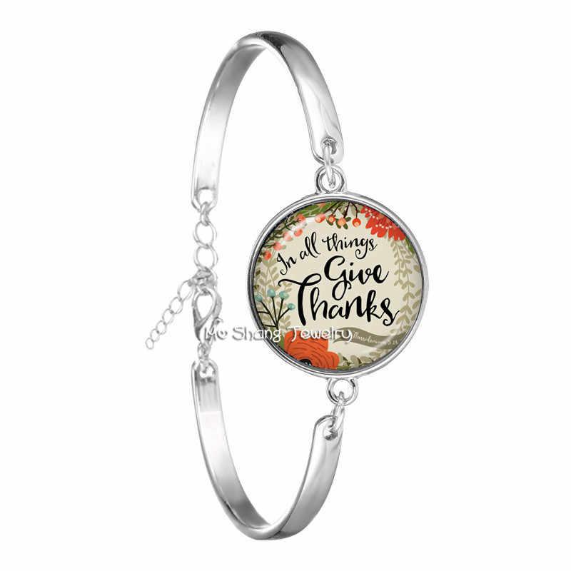 Pulsera cristiana de moda hecha a mano arte Biblia verso vidrio Domo brazalete escritura cita arte joyería regalos para cristiana