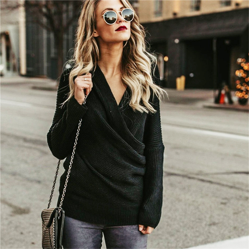 Fashion Sexy V Neck Cross Knitted Sweater Women Pullover Hollow Out Winter Cashmere Women Sweater Backless Streetwear Jumper in Pullovers from Women 39 s Clothing