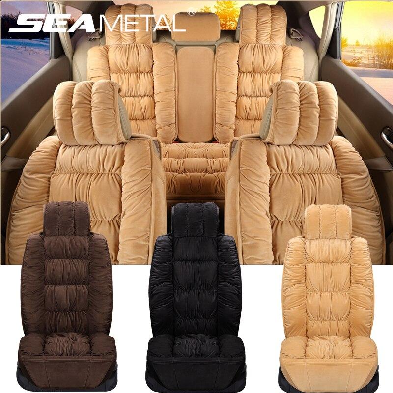 Мягкие Плюшевые Чехлы для автомобильных сидений, чехлы для автомобильных сидений, подушка, набор защитных чехлов для автомобильных сидений...