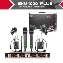 XTUGA – système de microphone professionnel sans fil SKM4000 PLUS, 4x100 canaux UHF avec 2 portables et 2 Bodypack, en métal, sélectionnable