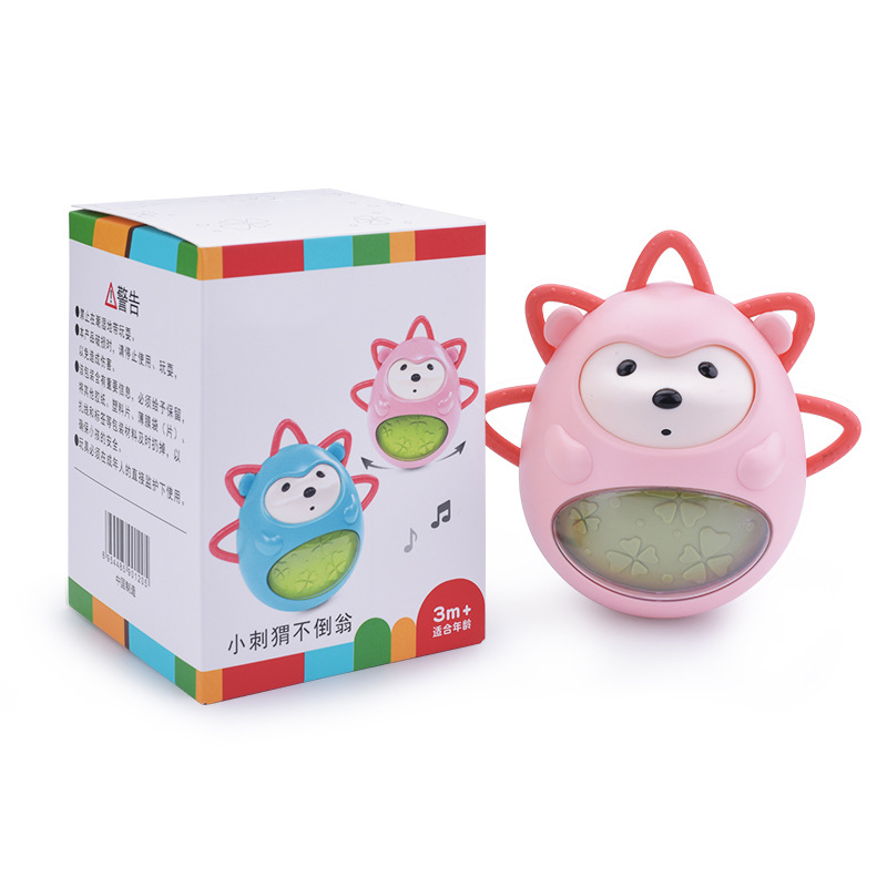 Music Tumbler Baby Teether Built-In Bells Hand-Cranked Interactive Hedgehog Toy For Early Education