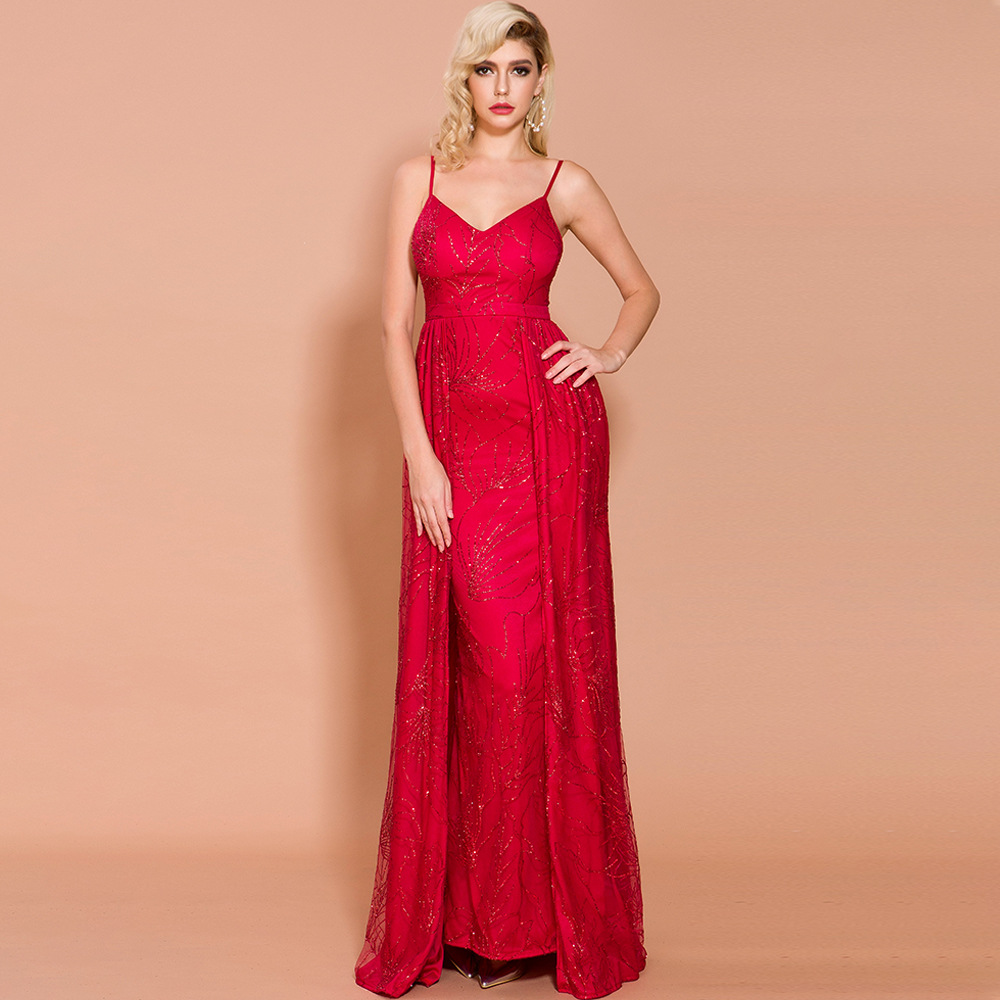 >Evening Dress Long Dress Gold Red Green Mermaid Spaghetti Straps <font><b>Sweep</b></font> <font><b>Train</b></font> <font><b>Sleeveless</b></font> Polyester Open Back Sequined