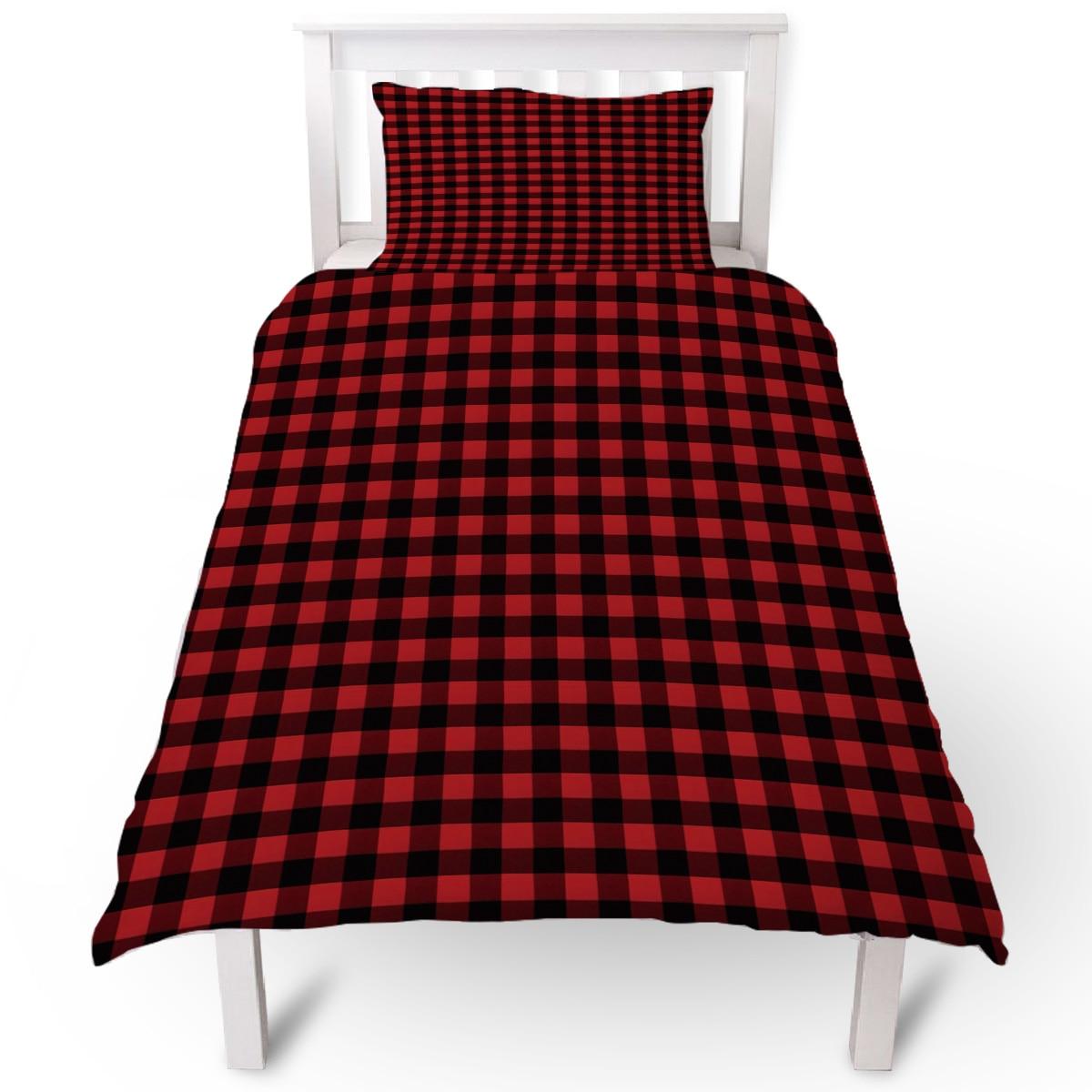 Black Red Plaid Duvet Cover Pillow Case Quilt Cover Set Bedclothes Single Bedding Sets For Bed Duvet Cover Aliexpress