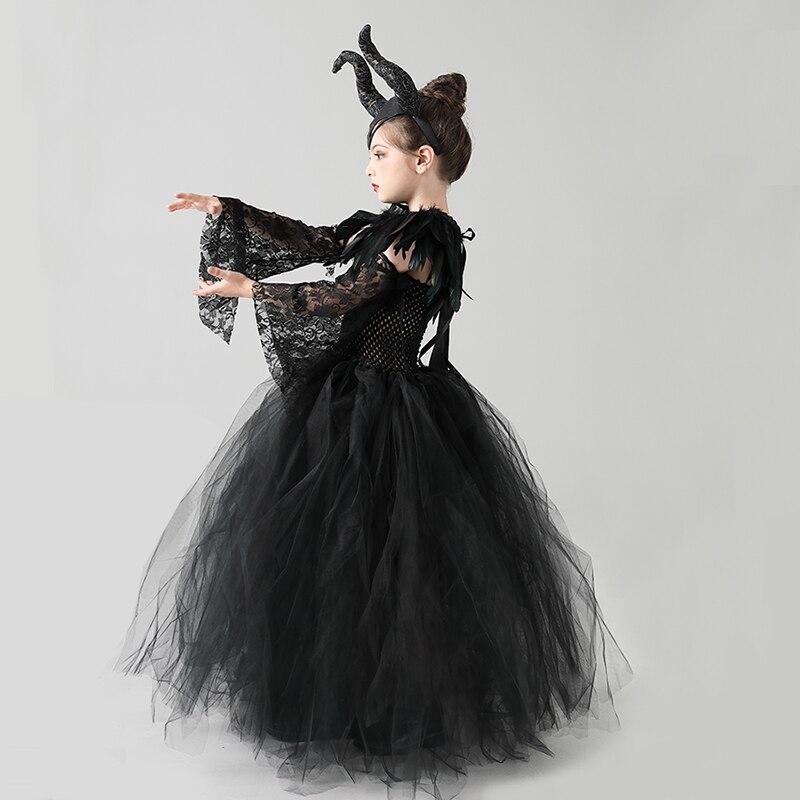 Kids Black Devil Tutu Costume Gothic Halloween Girls Fancy Tutu Dress with Feather Shawl Royal Dark Queen Maleficent Gown Dress (11)