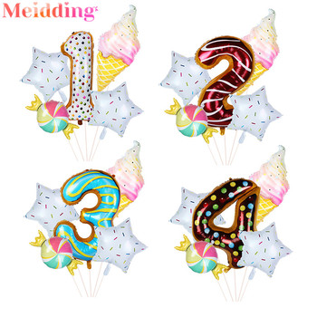 Donut Theme Party Decoration Balloons Ice Cream Helium Globos Number Foil Balloon Baby Shower Wedding Birthday Party Decorations foil number balloons birthday party decorations holiday diy decoration kids baby shower wedding decoration balls 40inch