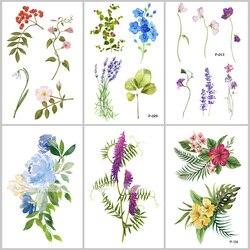 В Виде Цветка водонепроницаемые временные татуировки наклейки для женщин на тело искусство цветок поддельные татуировки 9,8X6 см переводные ...