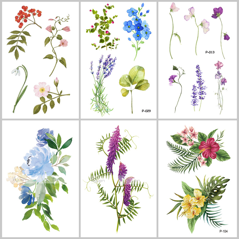 Wyuen Flower Waterproof Temporary Tattoo Stickers For Women On The Body Art Blossom Fake Tattoo 9.8X6cm Translated Tatoo P-029