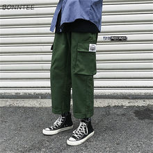 Men Casual Pants Cargo Pants Japanese Loose Joggers Sweatpants Mens All-match Trousers Straight Military Army Green Black 2020(China)