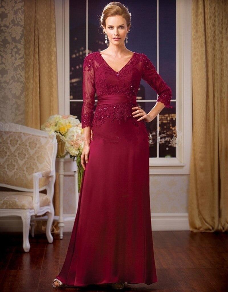 Elegant A-Line Formal Evening Gowns V Neck Red Lace Mother Of The Bride Dresses Wedding Party Dresses Vestido De Noche Largos