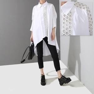 Image 4 - New2020 קוריאני סגנון נשים מוצק לבן חולצה חולצה ארוך שרוול דש תחרה תפור ארוך זנב נשי חולצה תחתונית femme 4701