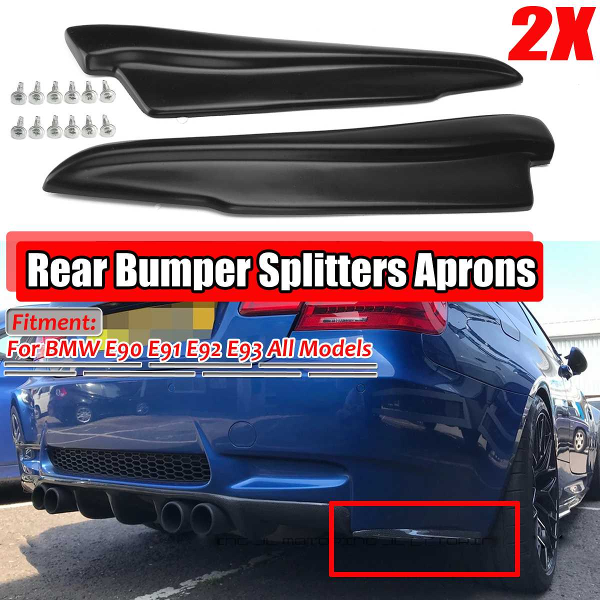 A Pair 52cm Universal Car <font><b>Rear</b></font> Bumper Lip <font><b>Diffuser</b></font> Guard Deflector For BMW E90 E91 E91 E92 For <font><b>AUDI</b></font> A6 <font><b>A7</b></font> A8 For Ford For Focus image