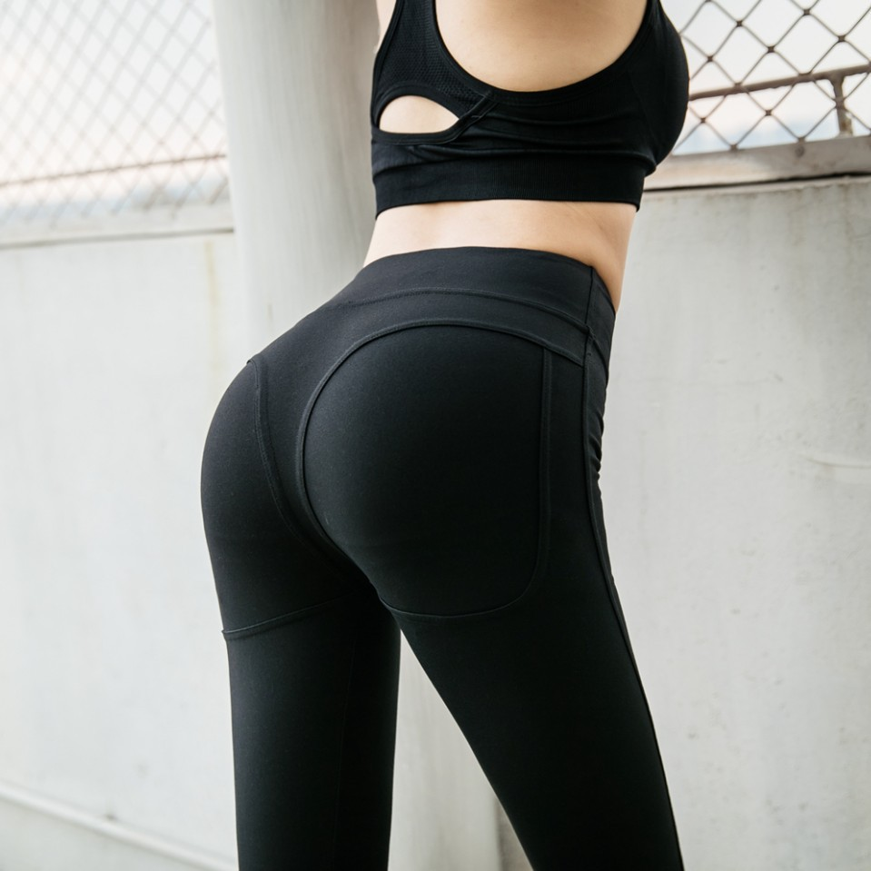 Leggings Women's 2019 New Style Europe And America High-waisted Peach Butt-lift Underwear Fitness Running Sports Yoga Pants Wome