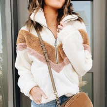Женский вязаный свитер из шерпы на молнии 1/4, Пушистый Плюшевый флисовый пуловер на молнии, женские Теплые Топы, верхняя одежда, пальто с карманами