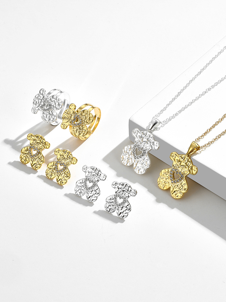 ZEMIOR Fashion Hollow Love Jewelry Set Cute Pretty Small Bear Ring Earrings And Pendant Necklace Cubic Zirconia Classic Jewelry