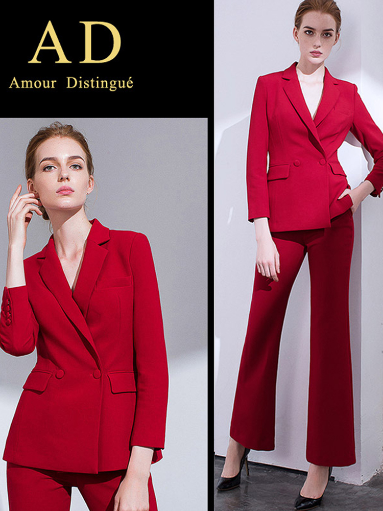 Women S Office Suits Set Professional Female Business Lady Suit Plus Size Red Blazer Pant  Designer Tailor Made 2019 Free Ship