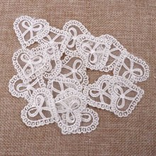 New 30Pcs White heart shape Vintage Lace Stick, Sew on Fabric Flower Motifs, Craft, Sewing, Patches 3.6x3.9cm