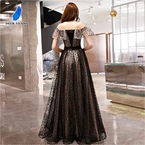 Image 2 - DEERVEADO prawdziwe zdjęcia linia Boat Neck elegancka, długa suknia Vintage formalne sukienek suknia wieczorowa Robe De Soiree YS434