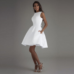 Booma Korte Trouwjurken 2020 Wit ivoor Bridal Jurk Wit Bruid Jurken Hoge kwaliteit Satin Wedding Party Jurken