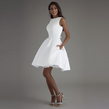 Booma Short Wedding Dresses 2020 White ivory Bridal Dress Bride Gowns High quality Satin Party