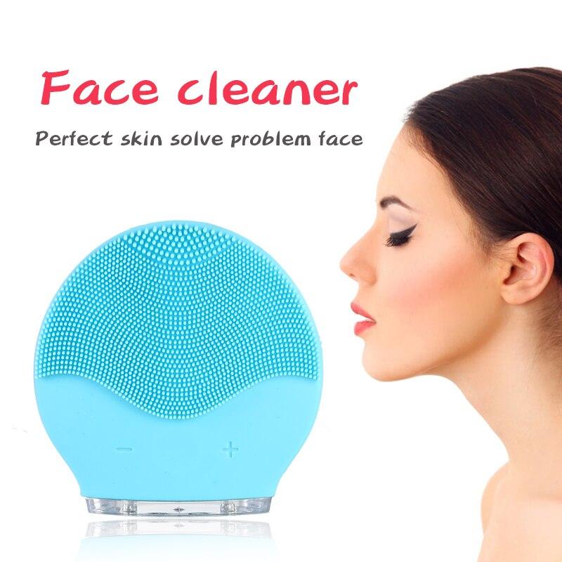 Электрическая вибрационная щетка для очищения лица, удаление черных точек, очищающее средство для пор, водонепроницаемый силиконовый массажер для лица, очиститель для лица