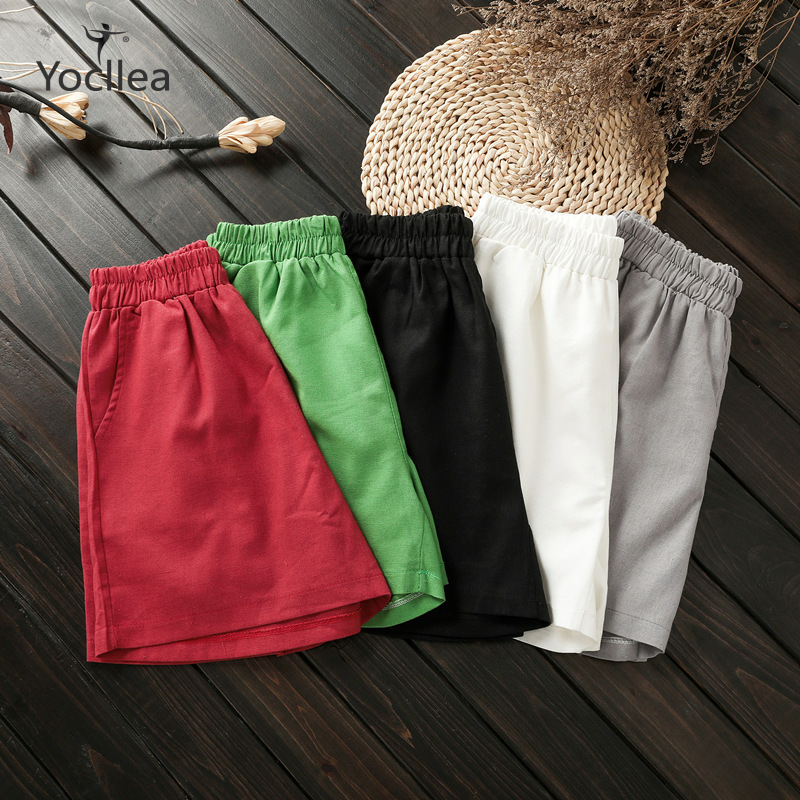 Summer Shorts Loose 4XL Plus Size Cotton Casual Women Short Trousers High Elastic Waist  Short Solid