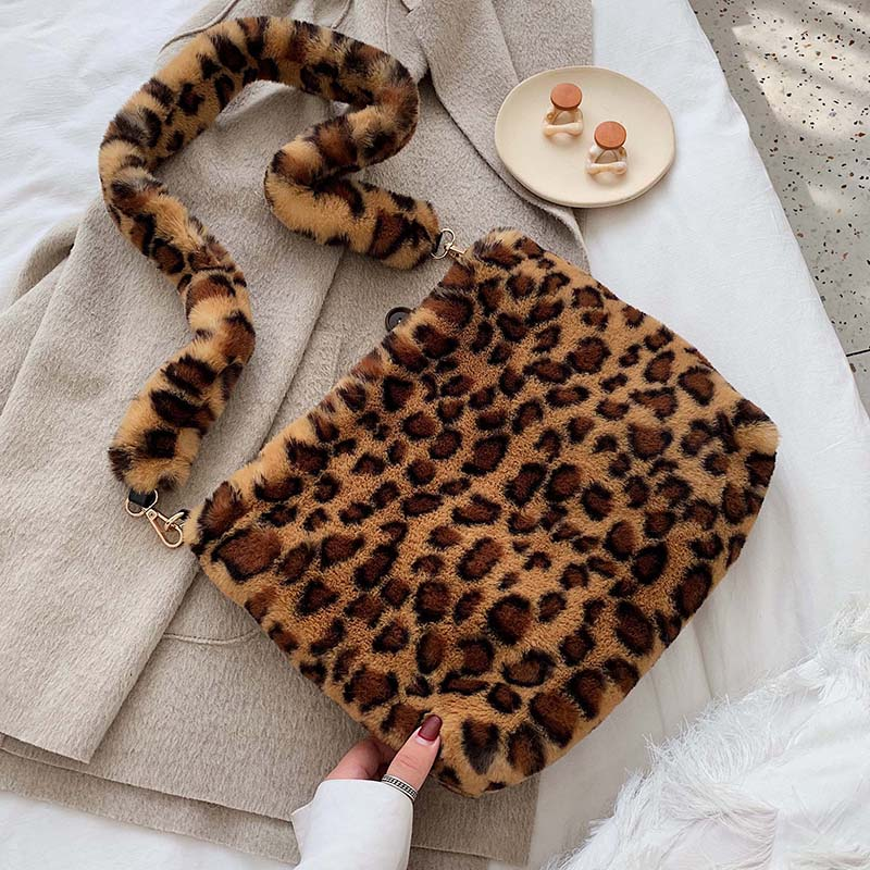 Faux Fur Crossbody Bags For Women 2019 Winter Leopard Shoulder Messenger Bag Lady Warm Handbags Girls Christmas Gift