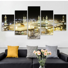 Mecca Mosque Hajj Islamic Building Poster And Prints 5 Panels Picture On Wall Decor Canvas Painting For Muslim Home Decoration