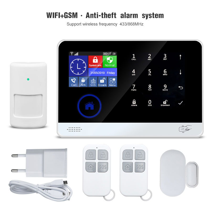 Wifi 3G Smart Home Security Alarm System With Door Sensor/Srien/Smoke Detector Fireproof 88 Wireless Zone Mobile Control Burglar