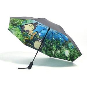 Image 2 - Miyazaki Hayao Anime Totoro Automatic Rain Sun Umbrella For Women Portable 3 fold UV Umbrela Cartoon Parasol Ghibli Studio