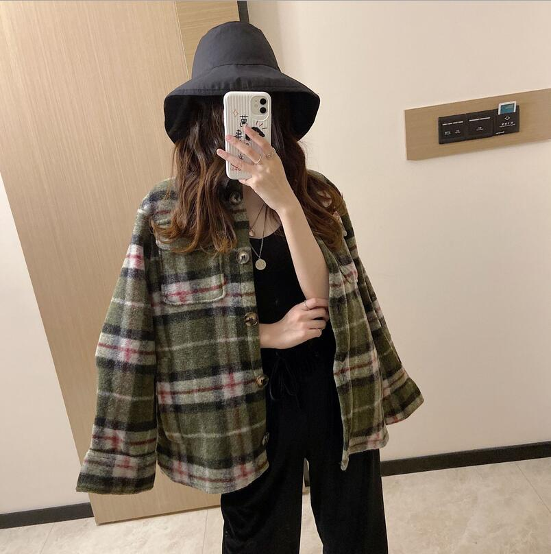 Image 2 - 2019 British Style Pattern Shirt Wool Coat Jacket Female single Breasted Wool Coat WomenWool