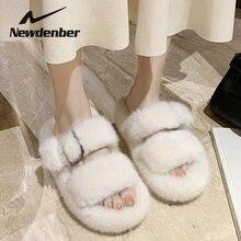 Зимние женские меховые тапочки модная теплая обувь из искусственного