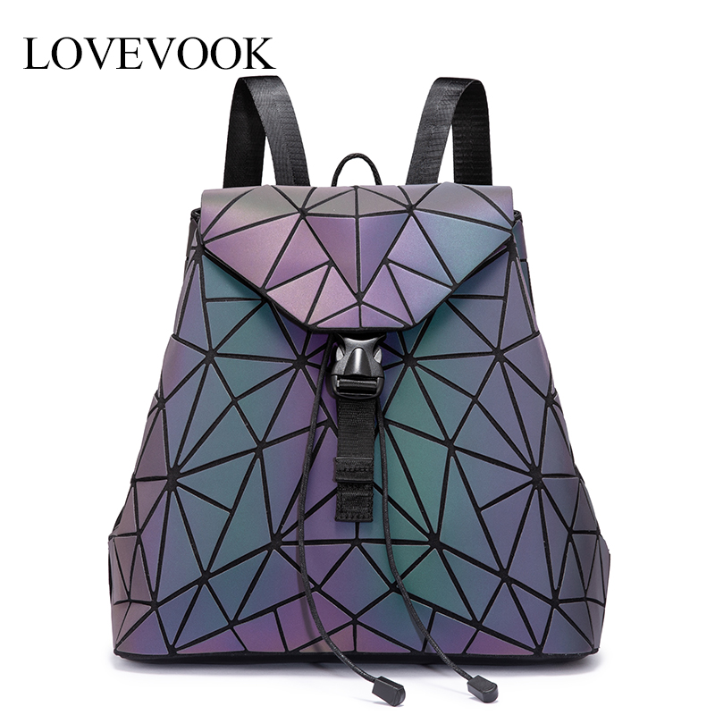 LOVEVOOK Women Backpack Schoolbag For Teenagers Girls Large Capacity Foldable Geometric Bag Pack Luminous Backpack For Travel