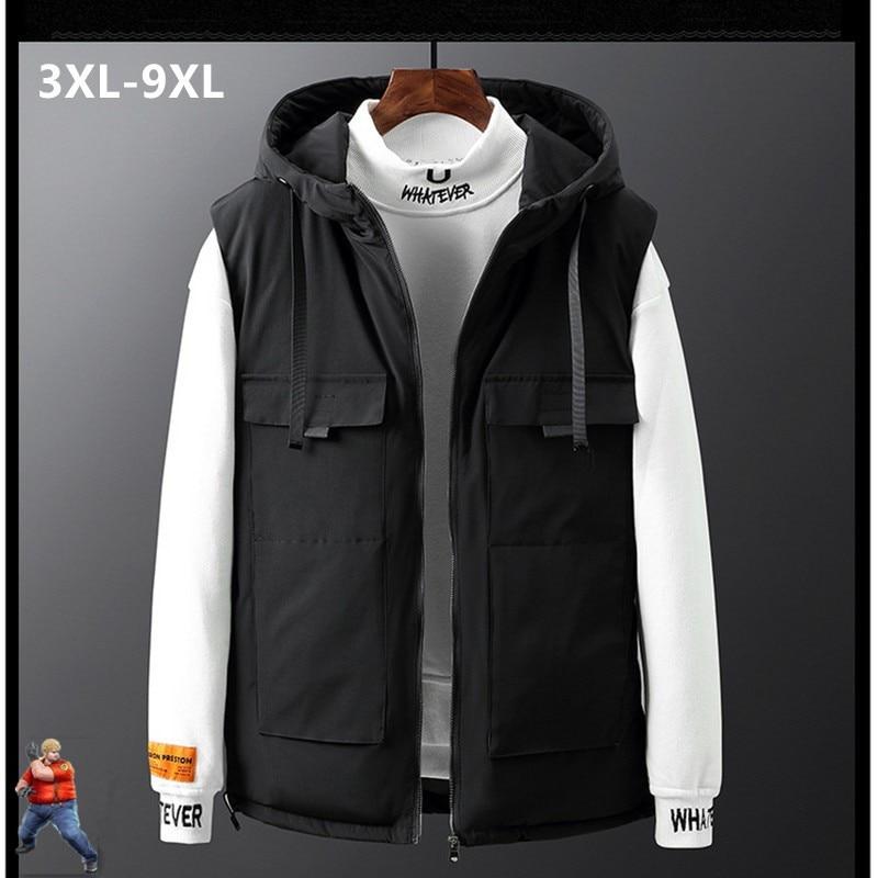Winter Vest Men Thick Hoodies Sleeveless Man Cargo Plus Size 6XL 7XL 8XL 9XL Man Fat Waistcoat Big Warm Black Camo Mens Clothing
