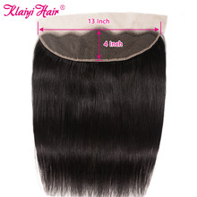 Klaiyi Straight Hair Lace Frontal Closure Brazilian Remy Human Hair 13x4 Lace Front Closures Only Pre Plucked For Black Women