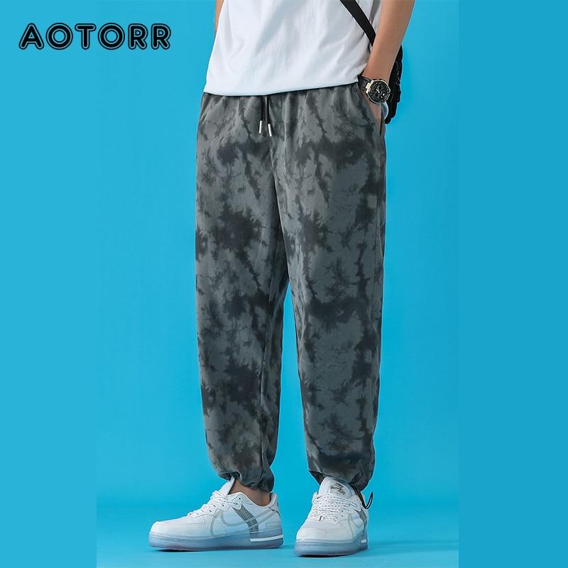 Hip Hop Tie Dye Pants Men Casual Oversize Retro Pants 2021 Men's Straight Trousers Korean Streetwear Vintage Male Clothing 3XL