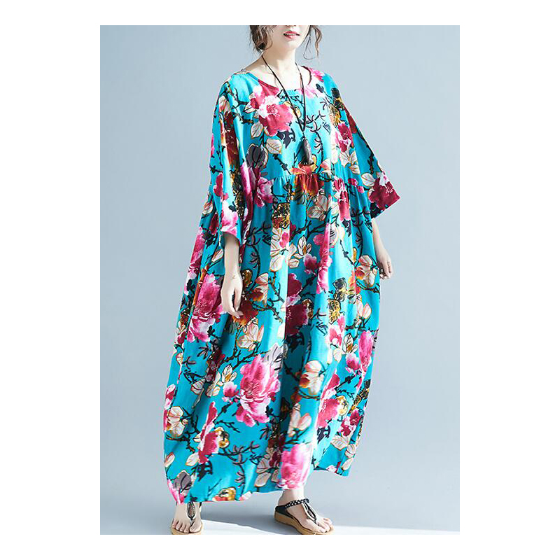Plus Size Boho Dresses For Women 4XL 5XL 6XL 7XL Large Summer Dress Robe Female Art Printed Floral Cotton Linen Maxi Dress 2020 image