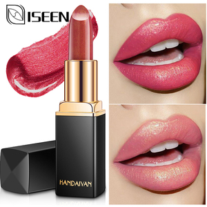 Shimmer Lipstick Waterproof Long Lasting Lips Makeup Nude Pink Mermaid Shimmer Lipstick Luxury Cosmetic Professional Labiales(China)