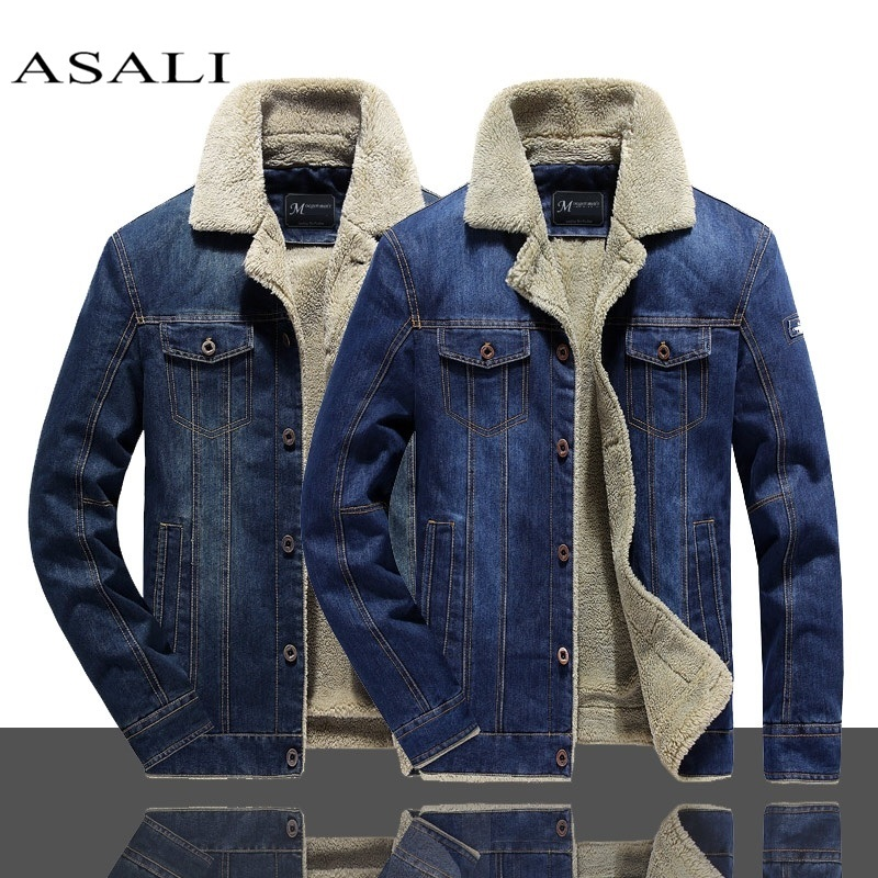 2019 Men Winter Warm Denim Jacket Fleece Thick Add Wool Casual Jacket Coat Liner Mens Jackets Brand Jeans Coats Male Clothing