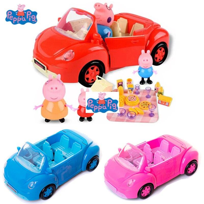 펫빠 돼지 장난감 pepa 돼지 가족 친구 자동차 장난감 인형 모델 PVC 액션 피규어 새해 돼지 장난감