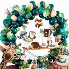 Jungle Safari tema parti malzemeleri yeşil balonlar Garland Arch kiti doğum günü bebek duş orman parti noel süslemeleri