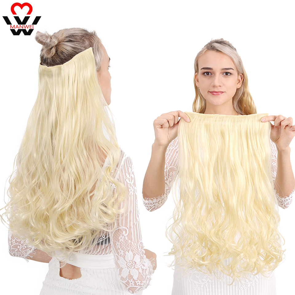 MANWEI24 Inches Synthetic Deep Wave Hair Heat Resistant Light Brown Gray Blond Women Hair Extension Set Clip In Ombre Hair