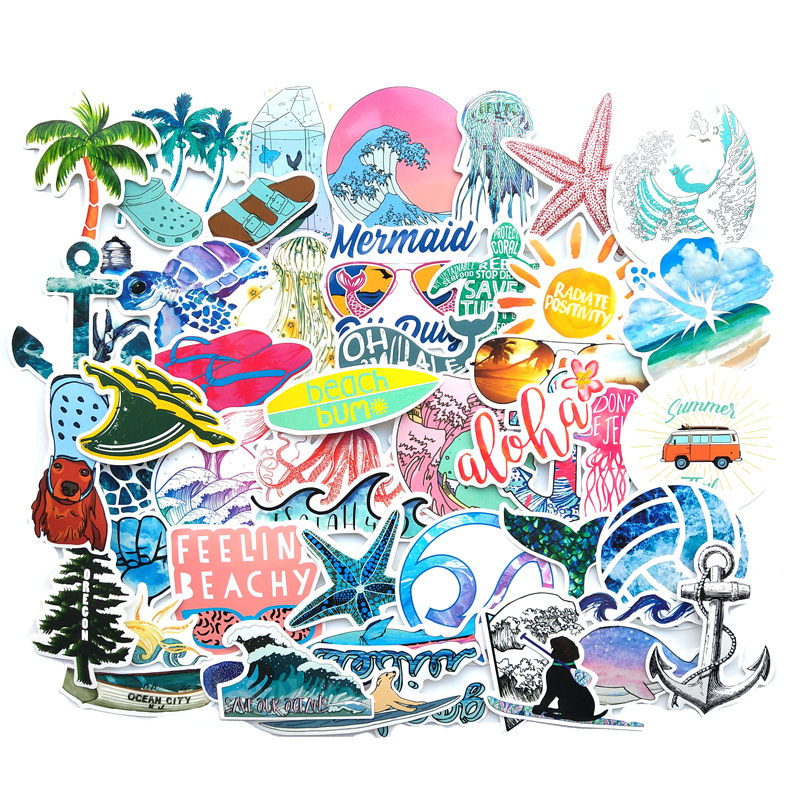 50 PCS Car Styling Hawaii Surf Car Sticker Vinyl BEACH CLUB Laptop Travel Luggage Decal Waterproof Accessories