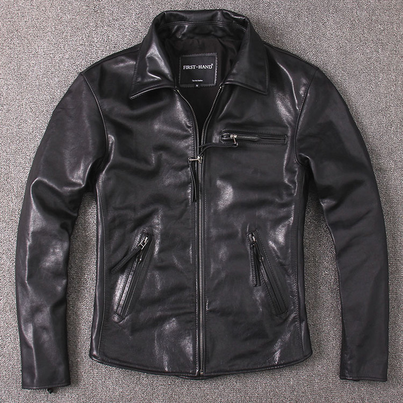 Men's Vintage Wax Genuine Jacket Men Coat Short Spring Autumn Real Cow Leather Jackets Brown Slim KJ2289