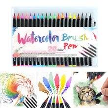Pincel de aquarela com marcador de arte de cores, canetas para material escolar, papelaria, desenho, livros para colorir, mangá, e caligrafia 20 pçs