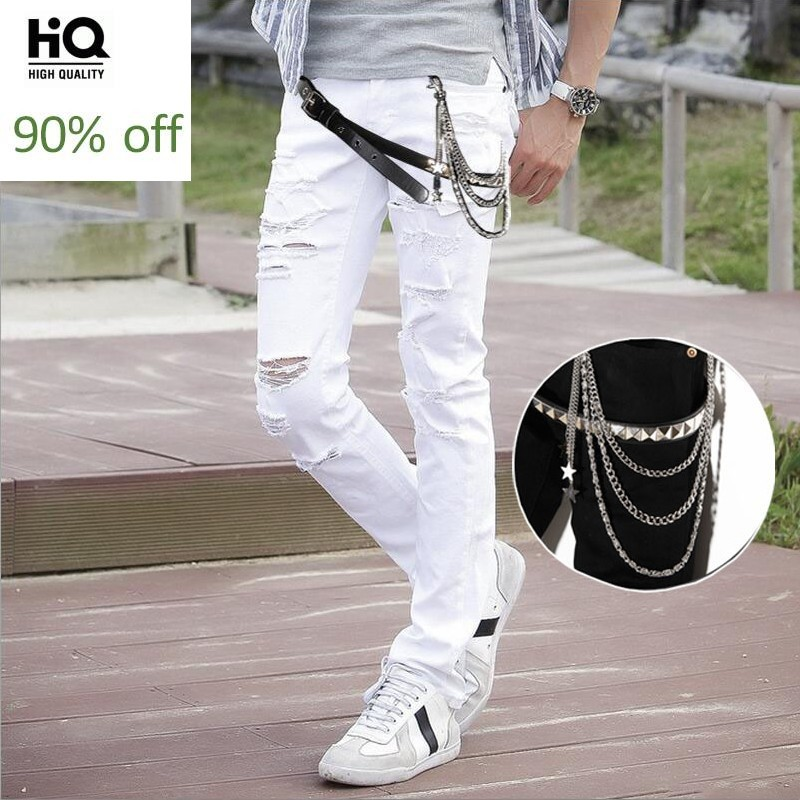 Personality Rivet Chain Belt Nightclue Wear Mens Denim Pants Punk Style Hole Ripped Full Length Slim Fit Male Pencil Trousers