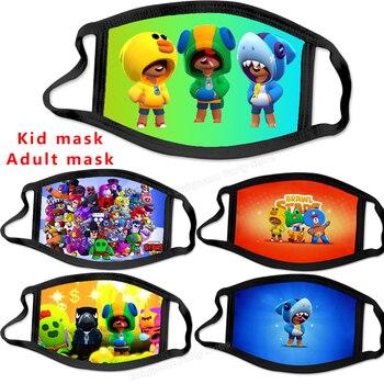 Brawls Stars Children Masks Adult Men Mouth Mask Kid Cartoon Printed Washable Mask Leon Spike Surge