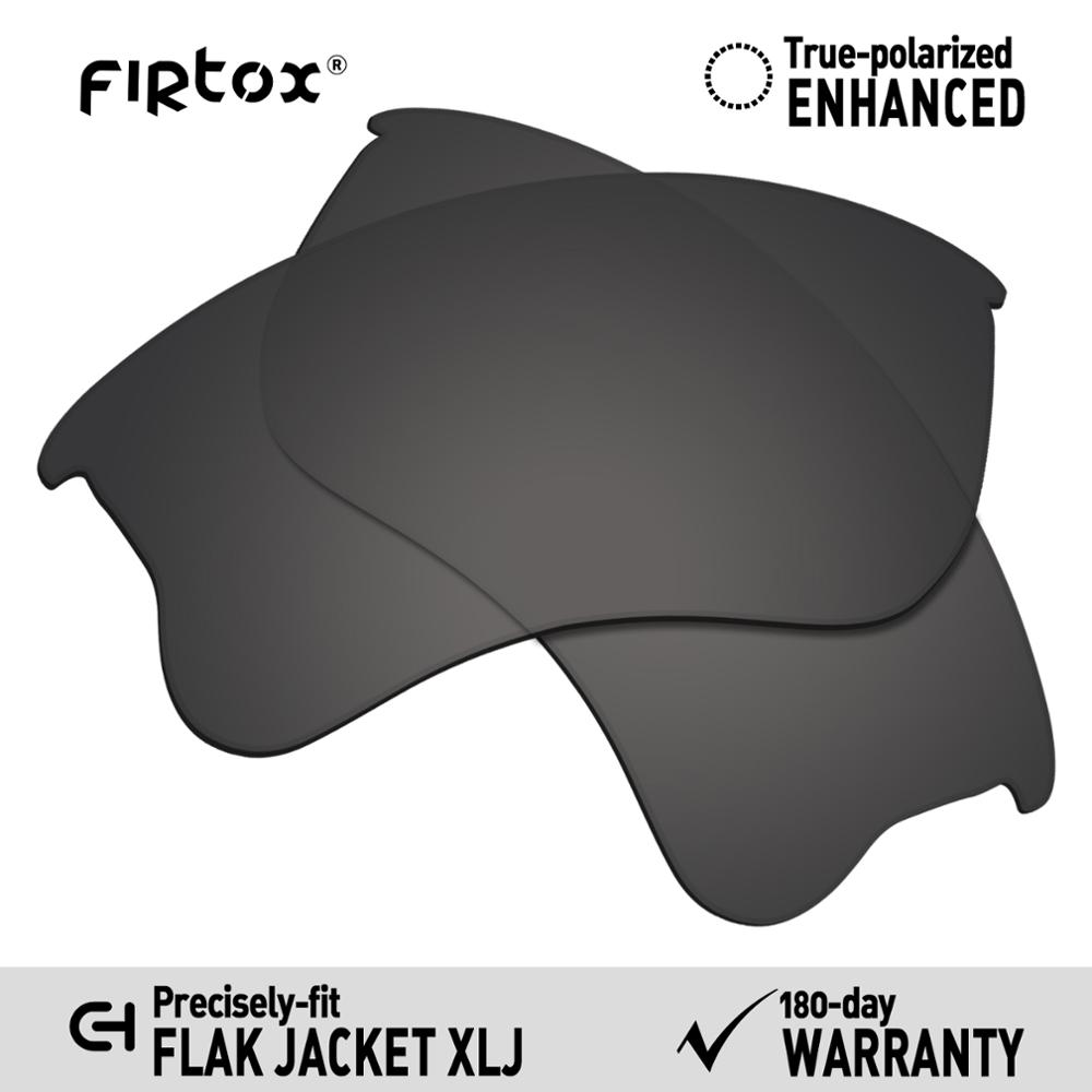 Firtox True UV400 Polarized Lenses Replacement For-Oakley Flak Jacket XLJ Sunglasses (Compatiable Lens Only) - Black