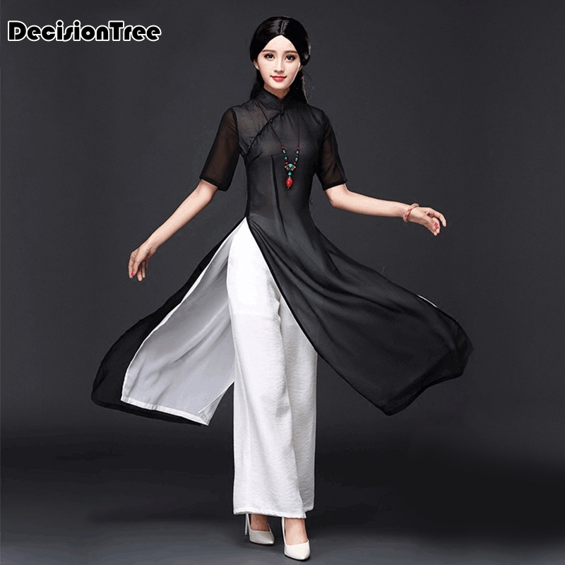 2019 Vietnam Aodai Chinese Traditional Dress Chinese Dress Qipao Long Chinese Cheongsam Dress Chinoise Modern Cheongsam