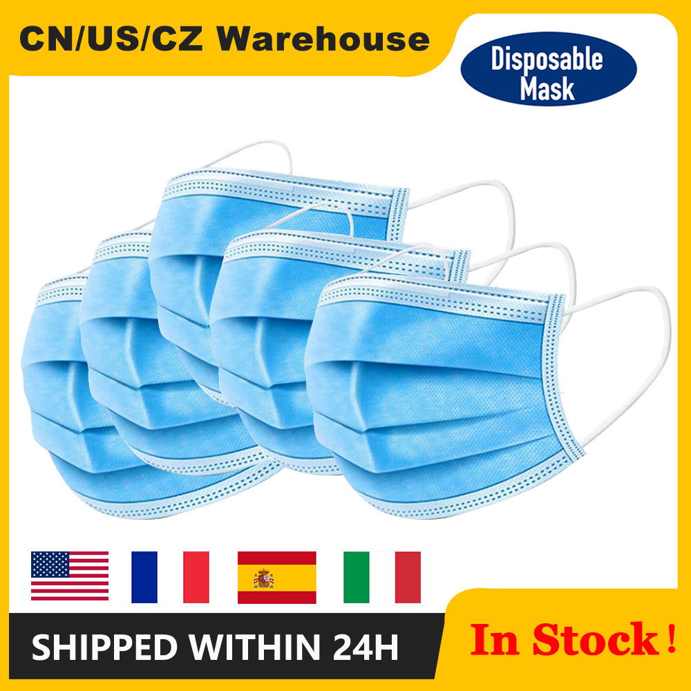 100Pcs/Lot Disposable Masks 3-layer Non-Woven Masks Anti Dust Mouth Face Mask Protection Soft Protective Mask